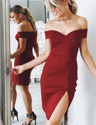 Sexy Sheath Split Front Off-the-Shoulder Mini Prom Dress_1
