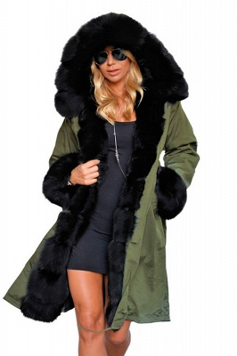 Puffer Long Sleeves Faux Fur Thicker Down Jacket Trimmed Hooded_2
