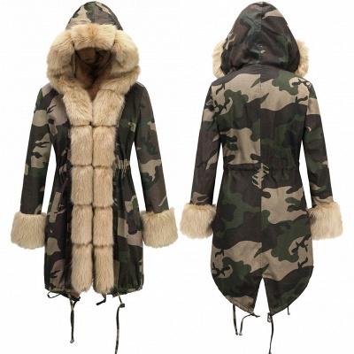 Beautiful Warm Winter Hooded Outwear Faux Fur Camouflage Long Sleeves_16