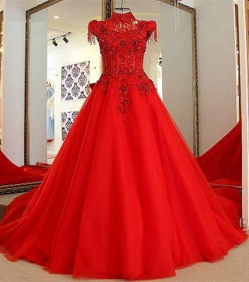 Classical Red A Line High Neck Lace-up Floor-Length Appliques Evening Dress