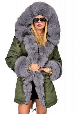 Beautiful Casual Long Sleeves Hooded Faux Fur Women Coat