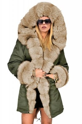 Pretty Overcoat Long Sleeves Faux Fur Winter Lining Coats