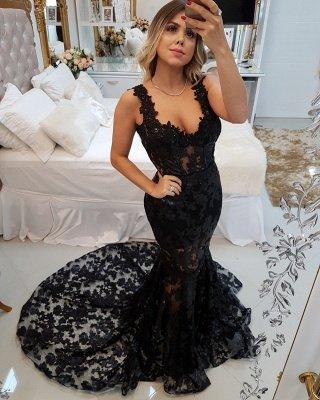 Glamorous Straps Mermaid Appliques Sweep Train Prom Dress_1