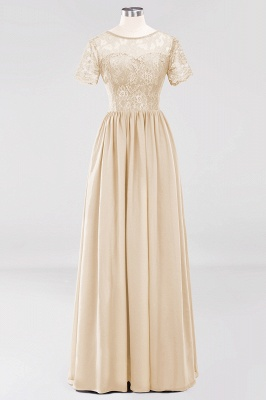 A-line Chiffon Lace Jewel Short-Sleeves Floor-length Bridesmaid Dress_14