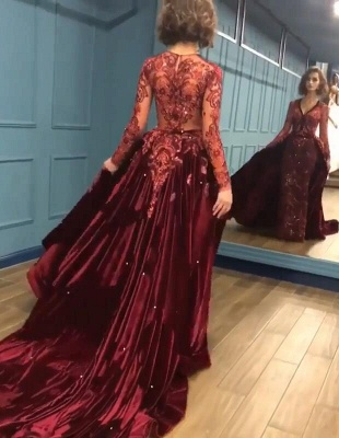 Sparkly Beading Burgundy Long Sleeves Prom Dresses with Appliques_4