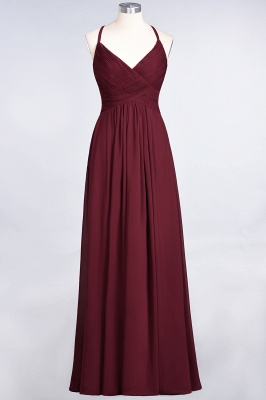 Chiffon A-Line Spaghetti-Straps V-Neck Sleeveless Long Bridesmaid Dress with Ruffles_40