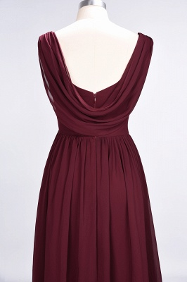 Chiffon A-Line Straps V-Neck Sleeveless Long Bridesmaid Dress with Ruffles_13