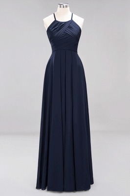 A-Line Chiffon Halter Ruffles Floor-Length Bridesmaid Dress_27