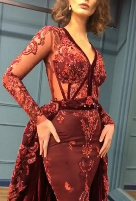 Sparkly Beading Burgundy Long Sleeves Prom Dresses with Appliques_3