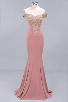 Charming Off The Shoulder Bridesmaid Dresses Mermaid Lace Appliques Sexy Evening Dress_1