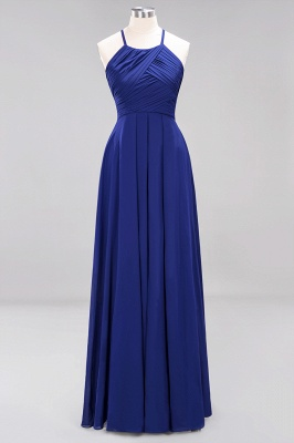 A-Line Chiffon Halter Ruffles Floor-Length Bridesmaid Dress_25