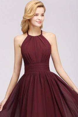 A-line Chiffon Appliques Halter Sleeveless Floor-Length Bridesmaid Dresses with Ruffles_5