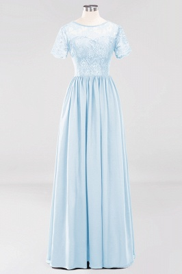 A-line Chiffon Lace Jewel Short-Sleeves Floor-length Bridesmaid Dress_22