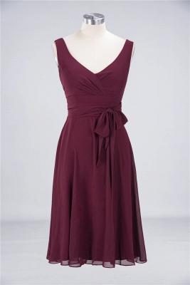 Chiffon A-Line Straps V-Neck Sleeveless Ruffles Short Bridesmaid Dress with Bow Sash_1