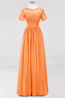 A-line Chiffon Lace Jewel Short-Sleeves Floor-length Bridesmaid Dress_15