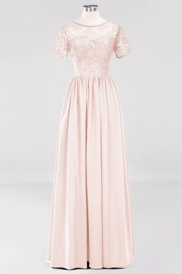 A-line Chiffon Lace Jewel Short-Sleeves Floor-length Bridesmaid Dress_5