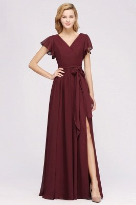 elegant A-line Chiffon V-Neck Short-Sleeves Floor-Length Bridesmaid Dresses with Bow Sash_1