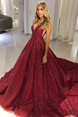 Fashion A-Line Straps Sleeveless V-Neck Floor-Length Prom Dress