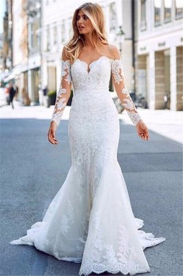 Charming Mermaid Tulle Appliques Off-the-Shoulder Long-Sleeves Wedding Dress