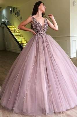 Stunning Ball Gown Tulle Beading Straps Sleeveless Prom Dress BC0794_1