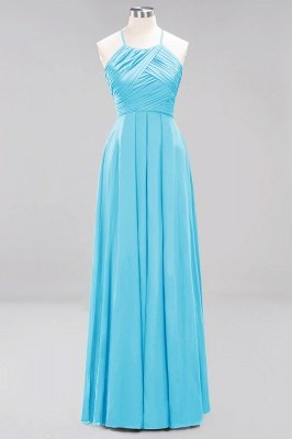 A-Line Chiffon Halter Ruffles Floor-Length Bridesmaid Dress_23