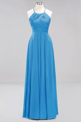 A-Line Chiffon Halter Ruffles Floor-Length Bridesmaid Dress_24
