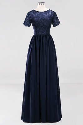 A-line Chiffon Lace Jewel Short-Sleeves Floor-length Bridesmaid Dress_27