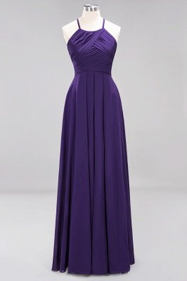A-Line Chiffon Halter Ruffles Floor-Length Bridesmaid Dress_18