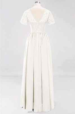 A-line Chiffon Lace Jewel Short-Sleeves Floor-length Bridesmaid Dress_2