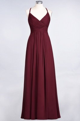 A-Line Chiffon Spaghetti-Straps V-Neck Sleeveless Floor-Length Bridesmaid Dress with Ruffles