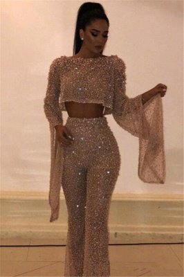 New Arrival Two Pieces Long Sleeves Crystals Crew Floor-Length Open Back Prom Dresses_1