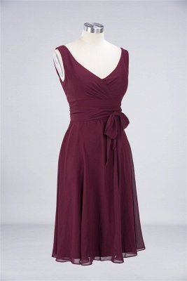 Chiffon A-Line Straps V-Neck Sleeveless Ruffles Short Bridesmaid Dress with Bow Sash_2