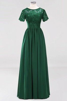 A-line Chiffon Lace Jewel Short-Sleeves Floor-length Bridesmaid Dress_30