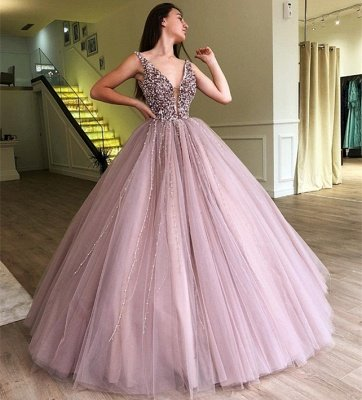 Stunning Ball Gown Tulle Beading Straps Sleeveless Prom Dress BC0794_4