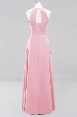 A-Line Chiffon Halter Ruffles Floor-Length Bridesmaid Dress_4
