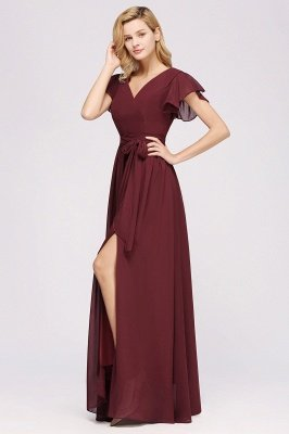 elegant A-line Chiffon V-Neck Short-Sleeves Floor-Length Bridesmaid Dresses with Bow Sash_5