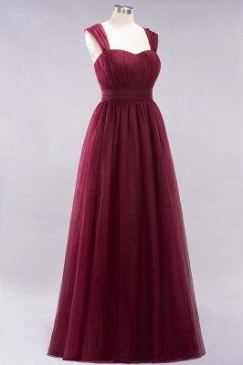 A-ligne bretelles en mousseline de soie sweetheart manches robes de demoiselle d'honneur -parole longueur avec des volants_5
