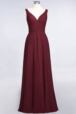 A-Line Chiffon V-Neck Straps Sleeveless Ruffles Floor-Length Bridesmaid Dress with Open Back