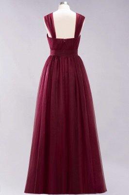 A-ligne bretelles en mousseline de soie sweetheart manches robes de demoiselle d'honneur -parole longueur avec des volants_4
