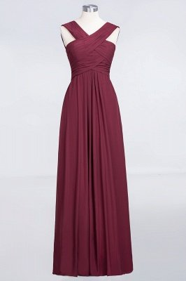 A-Line Chiffon V-Neck Straps Sleeveless Floor-Length Bridesmaid Dress with Ruffles