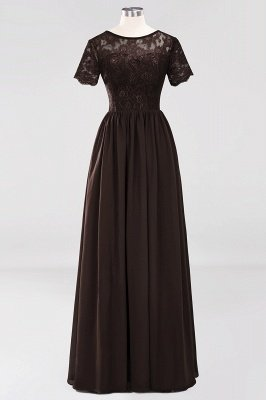A-line Chiffon Lace Jewel Short-Sleeves Floor-length Bridesmaid Dress_11
