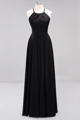 A-Line Chiffon Halter Ruffles Floor-Length Bridesmaid Dress_28