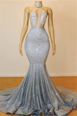 Mermaid Halter Sleeveless Floor-Length Prom Dress_1