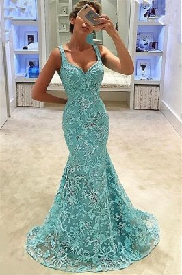 Fashion Mermaid Straps Appliques Sleeveless Floor-Length Prom Dress