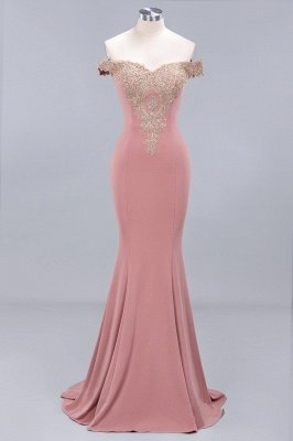 Charming Off The Shoulder Cheap Bridesmaid Dresses Mermaid Lace Appliques Sexy Evening Dress