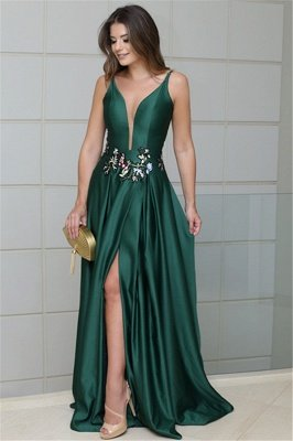 Sexy A-line Deep V-Neck Spaghetti Straps Sleeveless Side-Slit Prom Dress