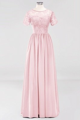 A-line Chiffon Lace Jewel Short-Sleeves Floor-length Bridesmaid Dress_3