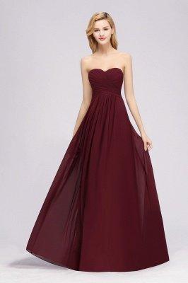 A-line Chiffon Sweetheart Strapless Ruffles Floor-length Bridesmaid Dress_3