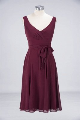 Chiffon A-Line Straps V-Neck Sleeveless Ruffles Short Bridesmaid Dress with Bow Sash_1