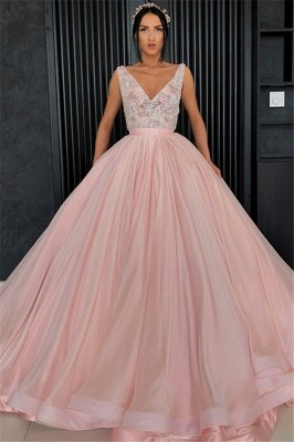 Elegant Ball Gown Appliques V-Neck Sleeveless Prom Dress